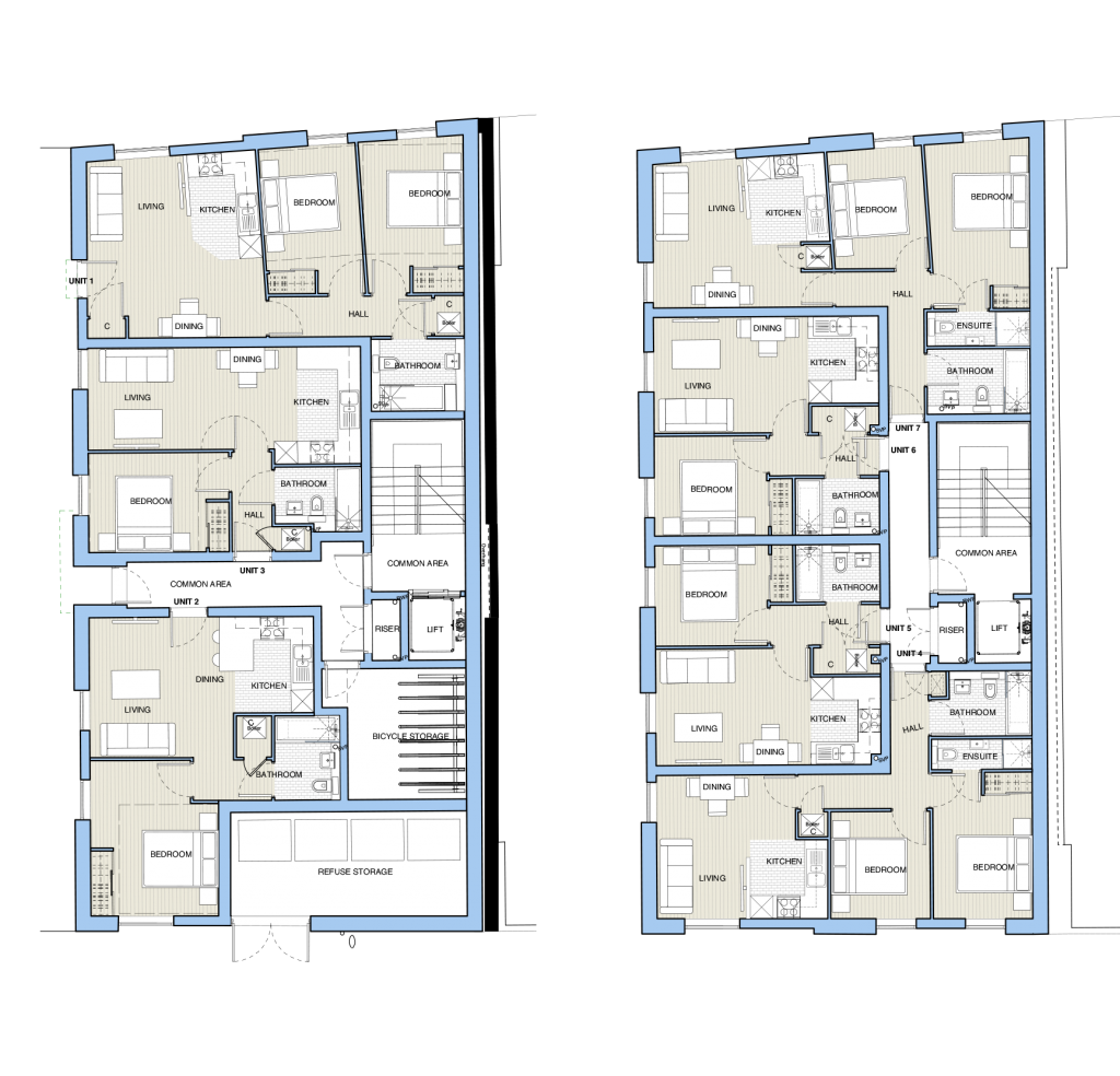 Floor plans of Bernard Street